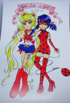 Poster Fight Like A Girl Miraculous Ladybug et Sailor Moon